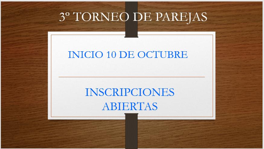 3º TORNEO DE PAREJAS